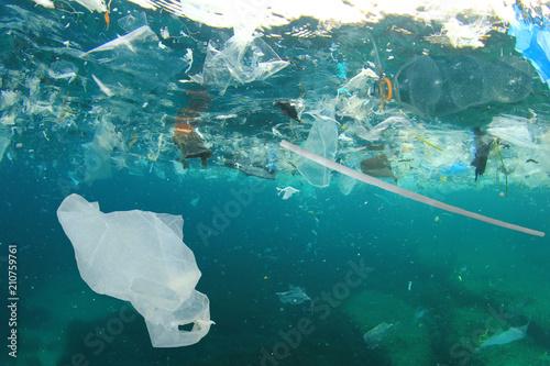 Plastic pollution in ocean Wallpaper Mural