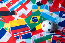 Plastic Football On International World Flag , Football World Cup In Russia 2018