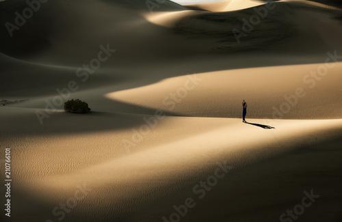 a lady on desert