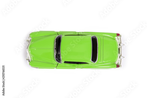 Top View Of Green Model Toy Car In Retro Style Buy This Stock