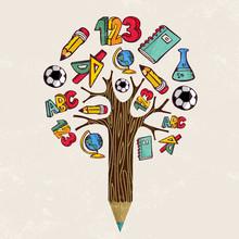 Education Pencil Tree Concept ...