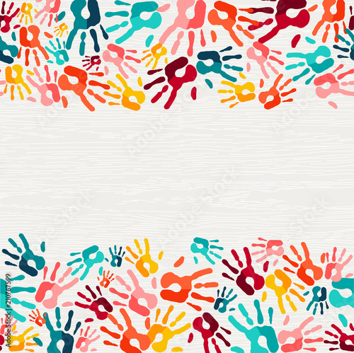 Obraz na plátně  Colorful hand print paint background art