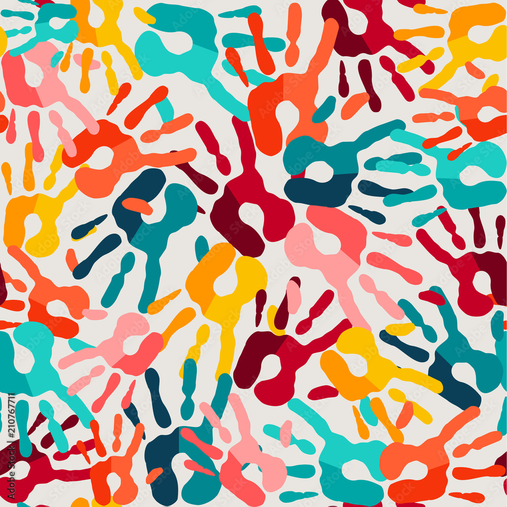 Color hand print seamless pattern background