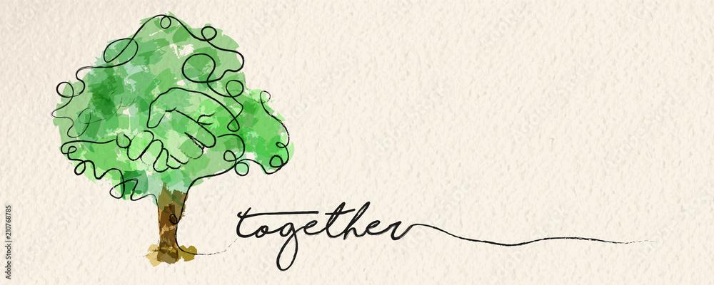 Fototapeta Watercolor hand tree web banner concept