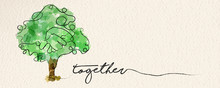Watercolor Hand Tree Web Banner Concept