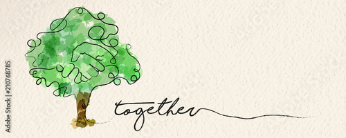 Fotografie, Obraz Watercolor hand tree web banner concept