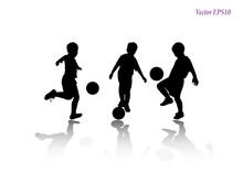 Set Of Child Playing Football ...