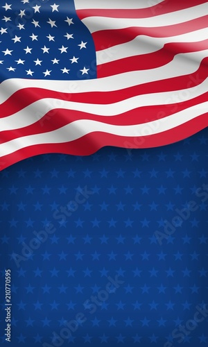 Fototapeta Closeup american flag on starry blue background. USA country day celebration flyer with space for text. Independence, freedom and patriotism vector concept. Patriotic card with waving american flag obraz