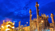 canvas print picture - Oil and gas industry - Petrochemical factory, Industrial zone and petrochemical plant at sunset