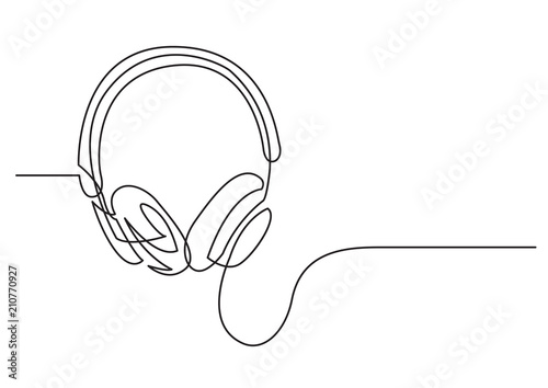 continuous line drawing of headphones Fototapeta