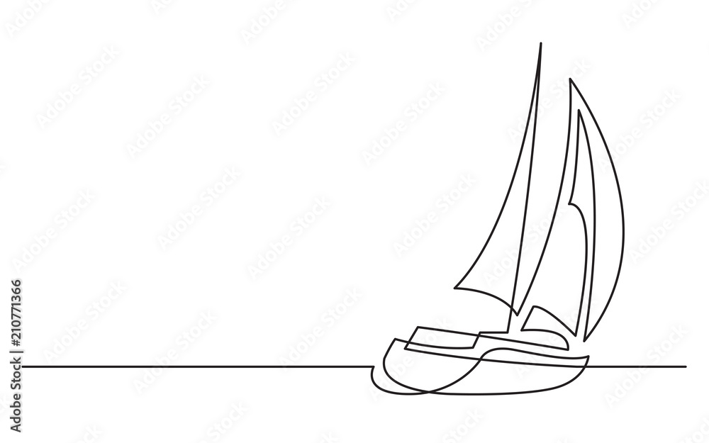 Fototapety, obrazy: continuous line drawing of sailing boat
