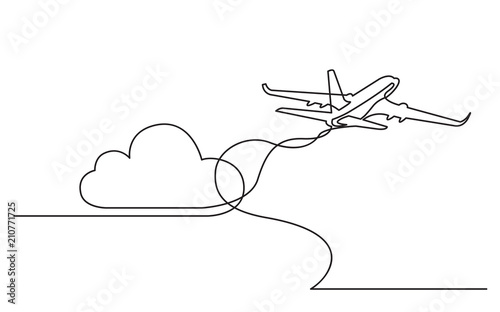 continuous line drawing of flying passenger plane Fototapete