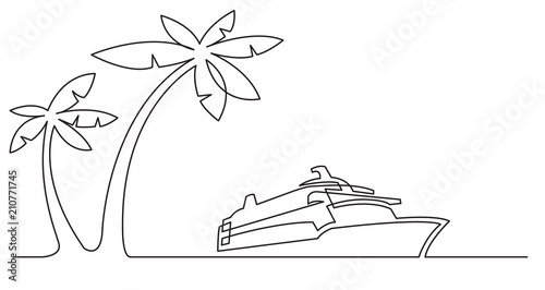 Fotografía continuous line drawing of palm trees and cruise ship