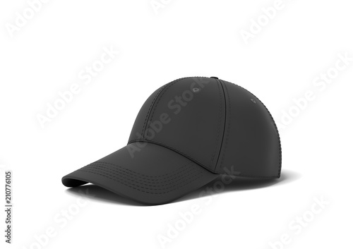 Valokuva  3d rendering of a single black baseball cap with black stitching lying on a white background