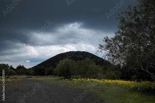 Fényképezés  Rain Cloud In Etna Park, Sicily