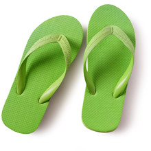 Flip Flop Beach Shoes Green Isolated On White Background