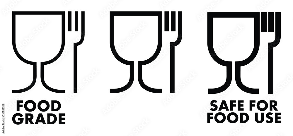 Fototapeta Food safe material sign. Wine glass and fork symbol meaning plastics is safe.