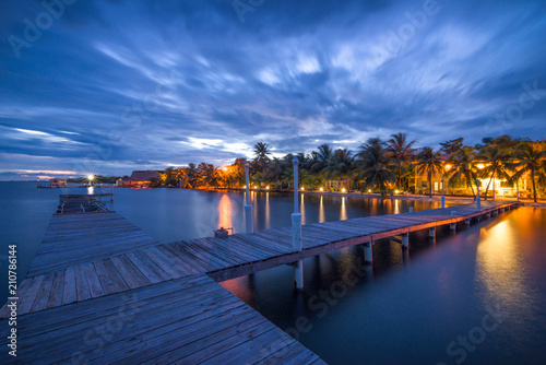Boardwalk in Placencia, Belize at night. Canvas Print