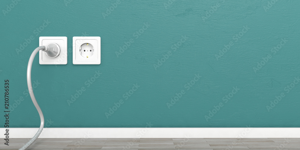 Fototapety, obrazy: White electric power sockets isolated on green wall background, copy space. 3d illustration