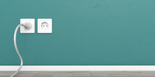 White Electric Power Sockets Isolated On Green Wall Background, Copy Space. 3d Illustration