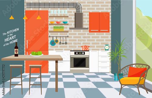 Kitchen Interior With Bar Counter Window Loft Interior Vector