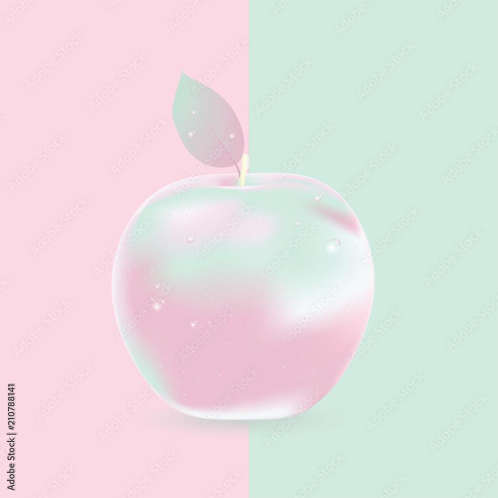 Dwa kolorowe tło z jabłkiem