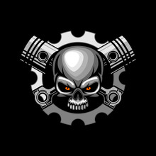 Automotive Skull Piston Vector...