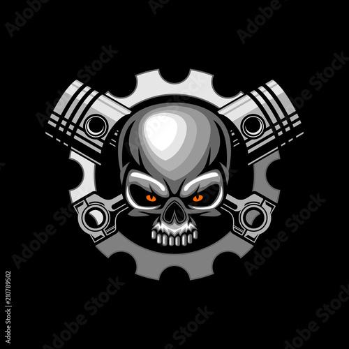 automotive skull piston vector illustration