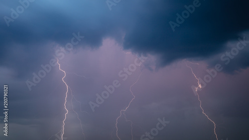 Fototapety, obrazy: The discharge of lightning in the sky as a background