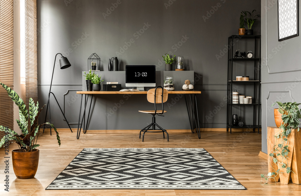 Fototapeta Scandi grey home office interior