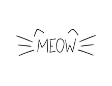 Vector Doodle Meow Illustratio...