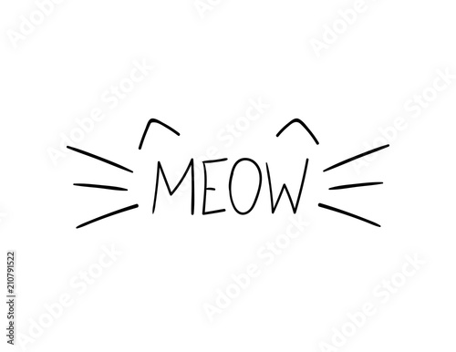 Vector Doodle Meow Illustration, Cat Whiskers Hand Drawn Illustration Wallpaper Mural