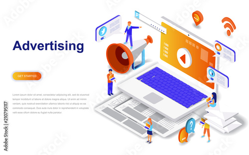 Fotomural  Advertising and promo modern flat design isometric concept