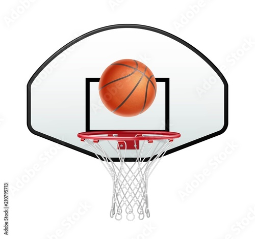 Canvastavla Ball for basketball and basketball hoop isolated on white background