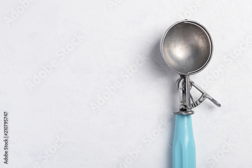 Ice cream scoop empty vintage on white table background with copy space