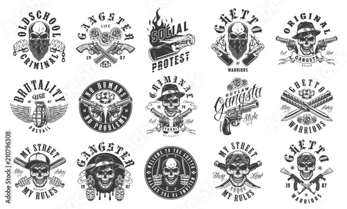 Photo  Set of gangster emblems