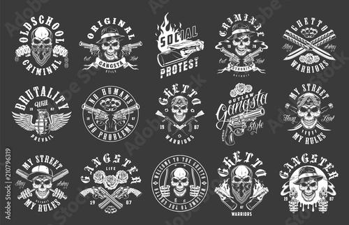 Fényképezés  Set of gangster emblems