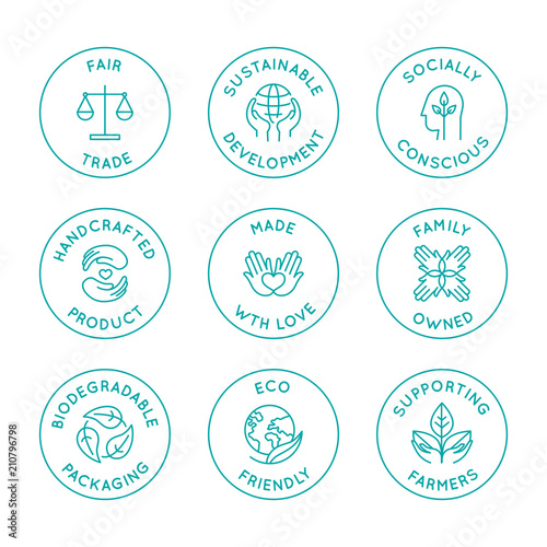 Vector set of linear circle design elements, logo templates, icons and badges fo Fototapeta