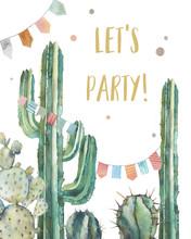 Watercolor Cactus Party Invita...