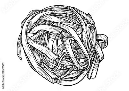 Tagliatelle, fettuccine, pasta illustration, drawing, engraving, ink, line art, Obraz na płótnie