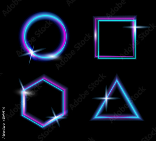 7869d796 Set of neon glow light.Glow abstract background.Vector glitch effect ...