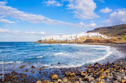 Tuinposter Canarische Eilanden Scenic village San Felipe on a peninsula at the Atlantic ocean, Gran Canaria Island, Canary Islands, Spain