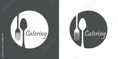 Fotografie, Obraz  Icono plano Catering en circulo con cubiertos en gris y blanco