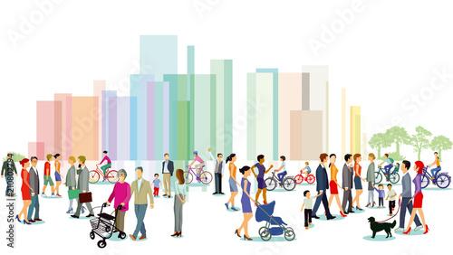 Canvastavla Stadt mit Personengruppen, Illustration