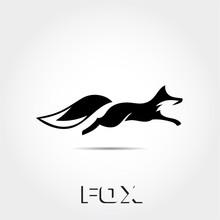 Fast Black White Jump Fox Logo
