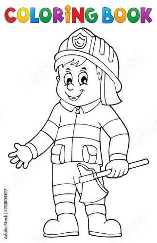 In de dag Voor kinderen Coloring book firefighter man 1
