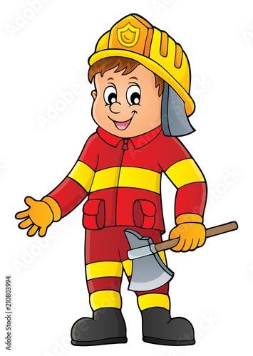 In de dag Voor kinderen Firefighter man image 1