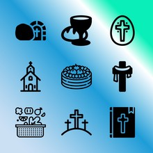 Vector Icon Set About Easter W...