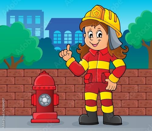 In de dag Voor kinderen Firefighter woman image 2