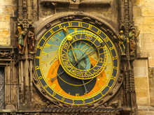 The Famous Astronomical Clock At The Southern Side Of The Old Town Hall Tower In Prague, Czech Republic